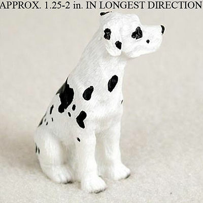 Great Dane Mini Resin Dog Figurine Statue Hand Painted Harlequin Uncropped
