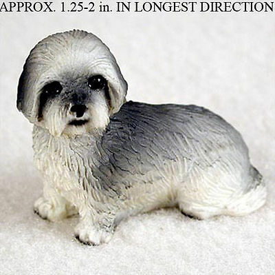Lhasa Apso Mini Resin Dog Figurine Statue Hand Painted Gray Puppy Cut
