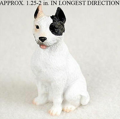 Pit Bull Mini Resin Dog Figurine Statue Hand Painted White