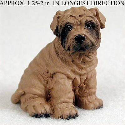 Shar Pei Mini Hand Painted Figurine Brown