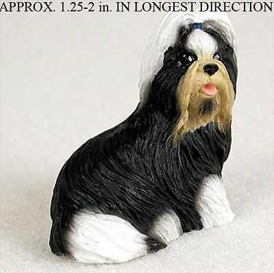 Shih Tzu Mini Resin Dog Figurine Statue Hand Painted Black/White