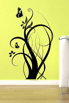 Floral Flower Branch Butterfly Vine Wall Art Vinyl Decal Sticker Home Decor