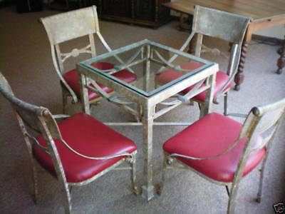 Italian Wrought Iron & Brass Glass Table & Upholstered Chairs