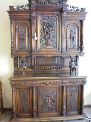 ANTIQUE Estate Piece 1800s Hand Carved Austrian Buffet