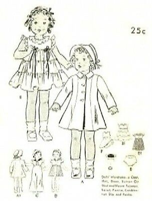 """Vintage 20"""" Shirley Temple Doll Clothes Pattern 447"""