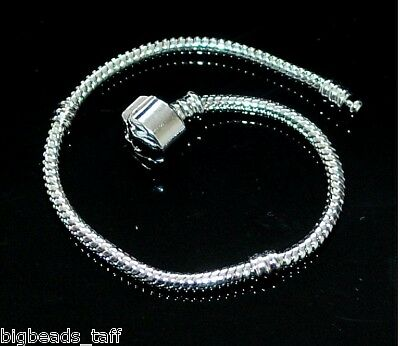 A rhodium plated European snake bracelet chain 18cm fit charm beads