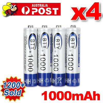 4X 1000mAH 1.2V AAA NI-MH Recharge Rechargeable Battery Batteries