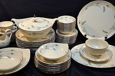 81 Piece Service For 12 Taylorton Silver Wheat TST China Taylor Smith Modern Set