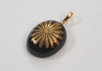 Japanese Pendant Amber Jewelry Maki-e Makie Kiku Kyoto Japan #21 for Gift