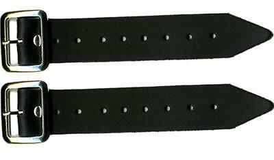 """Leather Kilt Strap and Buckle 5"""" Extender Extension 1.25"""" wide x 2 (Pair) Black"""