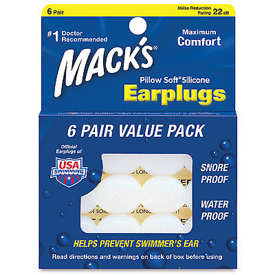 MACK'S Swimming PILLOW SOFT Ear Plug Learn to Swim ADULT 6 Pair MOLDABLE PUTTY 7