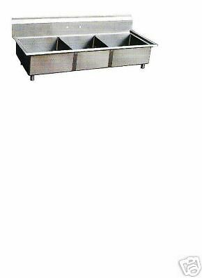 NEW COMMERCIAL KITCHEN 3 COMPARTMENT SINK- 14 X 16 BOWL