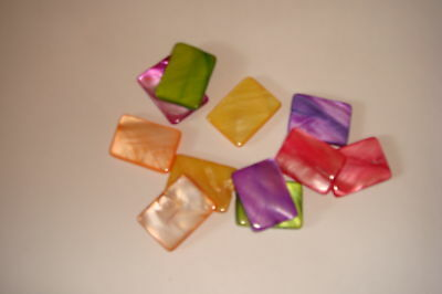 20 x Mother Of Pearl Dyed Shell Rectangle Discs Multi