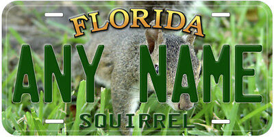 Squirrel Florida Any Name Personalized Aluminum Car Novelty License Plate