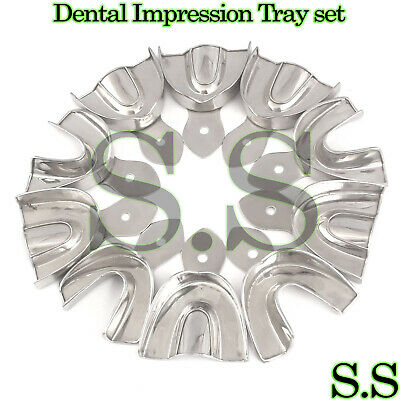 10 Dental Impression Tray set Solid Denture Instruments