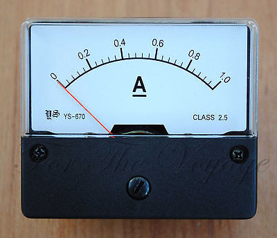 0- 1A DC Ammeter Amp Current Panel Meter Analogue Analog NEW