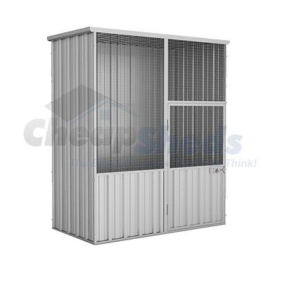 Absco Flat Roof Aviary 1.5m x 0.78m Zincalume Chicken Coop 30Yr Warranty Cage
