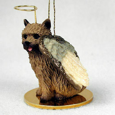 Norwich Terrier Ornament Angel Figurine Hand Painted