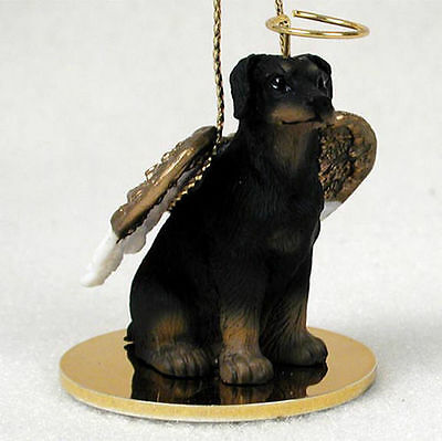 Doberman Pinscher Dog Figurine Angel Statue Hand Painted Black Uncro