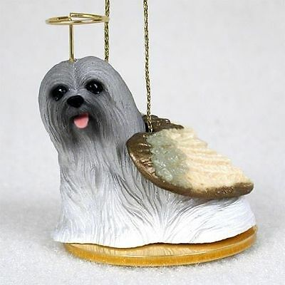 Lhasa Apso Dog Figurine Angel Statue Hand Painted Gray