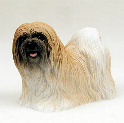 Lhasa Apso Hand Painted Collectible Dog Figurine Brown