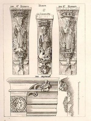 A.W.N. Pugin's Litho Designs -1830- CARVED MOLDINGS