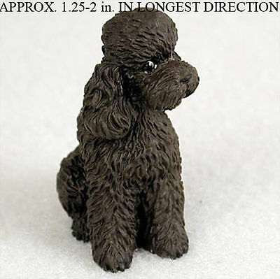 Poodle Mini Resin Hand Painted Dog Figurine Statue Hand Painted Chocolate S