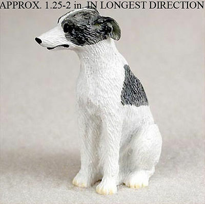 Whippet Mini Resin Hand Painted Dog Figurine Gray/White