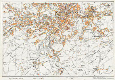 Huddersfield (south) Yorkshire 1938 old Map 51