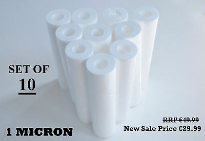 """10"""" Sediment Particle Water Filters 1 Micron Pack Of 10"""