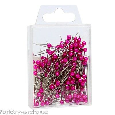 Pearl head pins Cerise Pink florists corsage craft buttonhole 4cm Box of 144