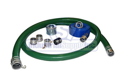 """2/"""" Green FCAM x MP Water Suction Hose Kit w//25/' Blue Discharge Hose"""