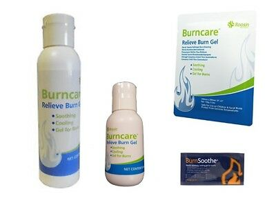 Burn Gel Relief for First Aid Scalds, Burns - in Sachets, Bottles, Dressings