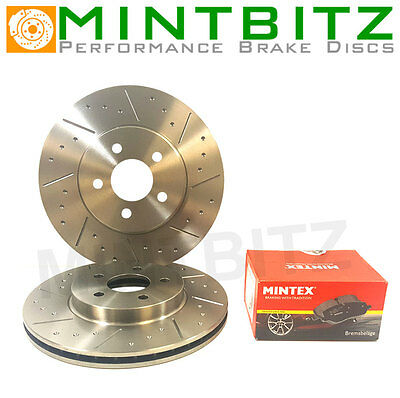 BMW 5 Saloon E60 535d 10/04-Dimpled & Grooved Front Brake Discs & Mintex Pads