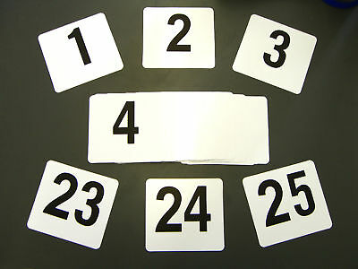 """Double Side Plastic Table Number Banquet 1-25 4"""" x 4"""""""