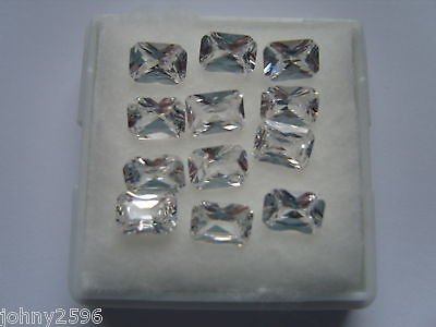 two,7x5mm octagonal clear white cubic zirconia stones for £1.50p