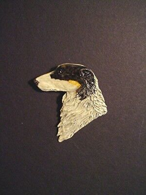 Borzoi Russian Wolfhound Pin HEAD #17Cp Dog Jewelry by Cindy A. Conter painted