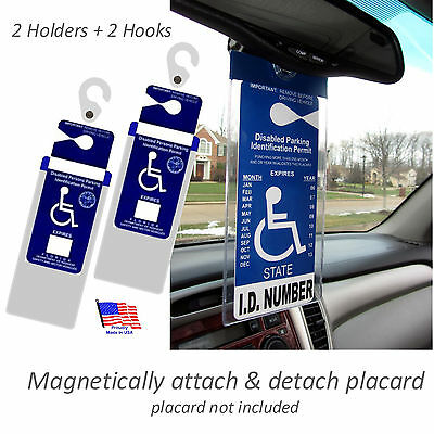2 NEW Handicapped Tag Car Holders. ON & OFF in a Snap.