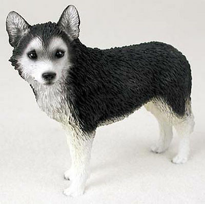 Husky Figurine Hand Painted Collectible Statue Black/White Brown Eye