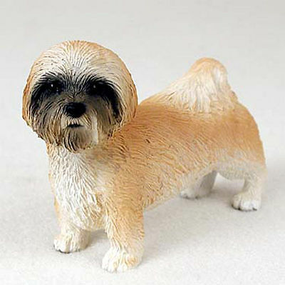 Lhasa Apso Figurine Hand Painted Collectible Statue Brown Sport