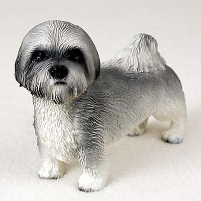 Lhasa Apso Figurine Hand Painted Collectible Statue Gray Sport