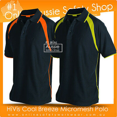 Hi-Vis Polo Shirt Two Tone Panel Polyester Work-Wear