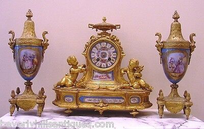 Antique French Gilt Bronze Porcelain 3 Piece Clock Roy & Fill, Urns P.H. Mourey