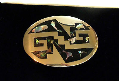 MEXICO Signed ABALONE MOTHER OF PEARL OVAL  BELT BUCKLE  VINTAGE