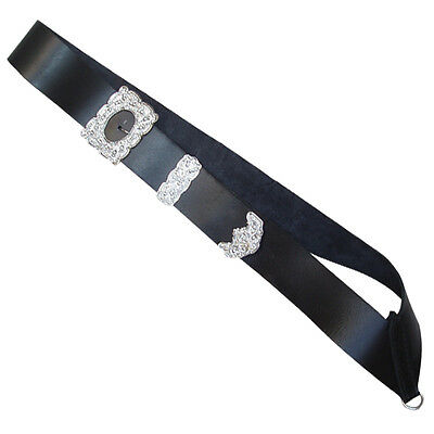 Genuine Real Leather Drummers Belt  With Chrome Thistle  Belt Buckle