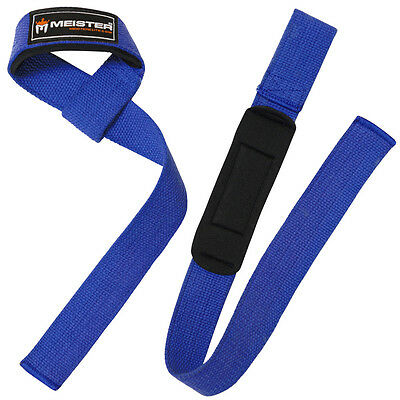 BLUE NEOPRENE-PADDED WEIGHT LIFTING STRAPS Wrist Bar Wraps MEISTER NO-SLIP PAIR