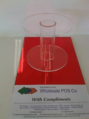 """Perspex Cake Separator Single Stem Round 4"""" High With Hollow Acrylic Tube"""