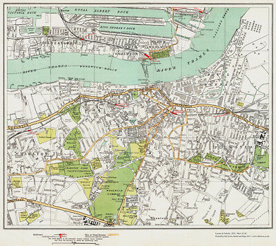 Old, Vintage, Woolwich Silvertown Charlton Map London 1932 #81-82