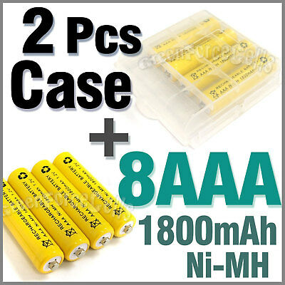 2 x Case + 8 AAA NiMH 1800mAh rechargeable battery Y1
