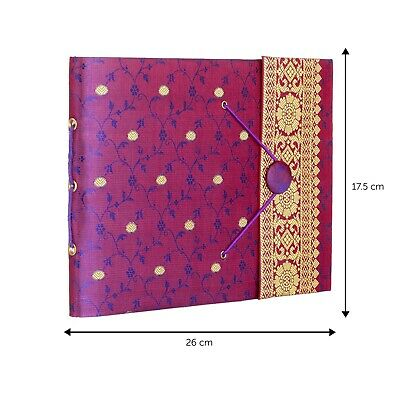 Fair Trade Handmade Medium Purple Sari Photo Album Scrapbook